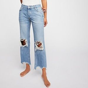 Free People distressed straight/flare jeans.